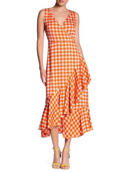 Imbracaminte Femei Diane Von Furstenberg Asymmetrical Ruffle Hem Midi Dress COSSIER LARGE BOLD RED