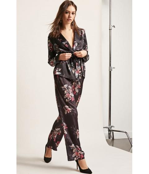 Imbracaminte Femei Forever21 RD Koko Floral Satin Wide-Leg Pants BLACKMULTI