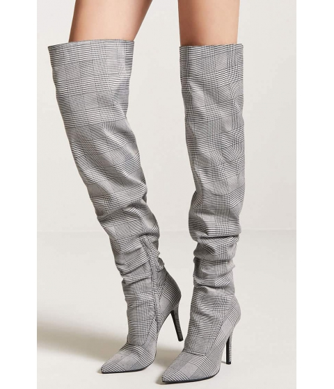 Incaltaminte Femei Forever21 Glen Plaid Thigh High Boots BLACKWHITE