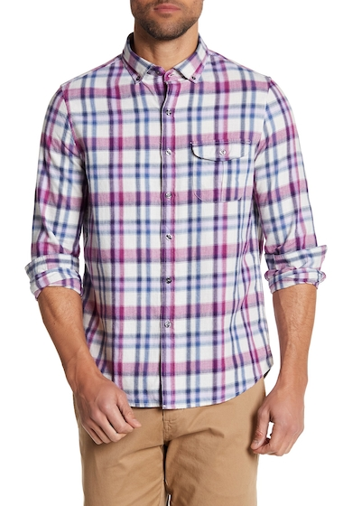 Imbracaminte Barbati MICHAEL BASTIAN Long Sleeve Plaid Trim Fit Shirt GRAPE