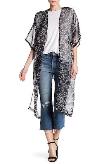 Accesorii Femei Melrose and Market Artisanal Floral Kimono BLACK COMBO