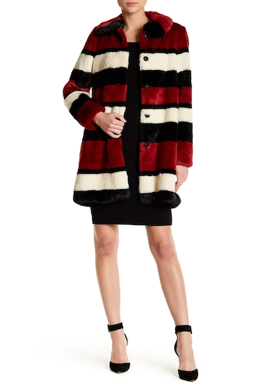 Imbracaminte Femei Alice Olivia Kinsley Oversized Stripe Faux Fur Coat CREAM-BLACK-RED