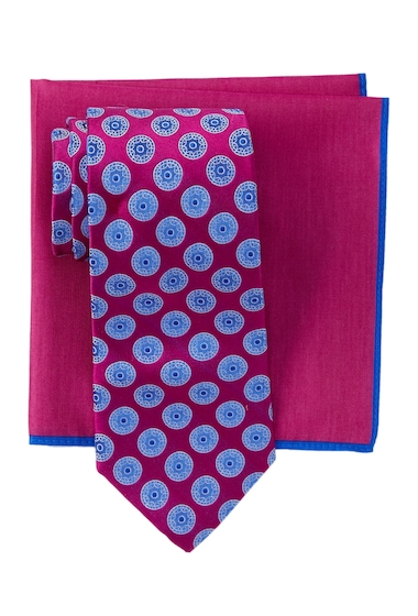 Accesorii Barbati Ted Baker London Circle Medallion Silk Tie Pocket Square Set MAGENTANA