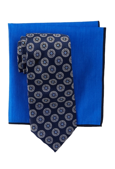 Accesorii Barbati Ted Baker London Circle Medallion Silk Tie Pocket Square Set NAVY