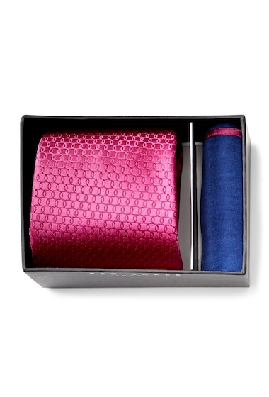 Accesorii Barbati Ted Baker London Links Silk Tie Pocket Square Set MAGENTA