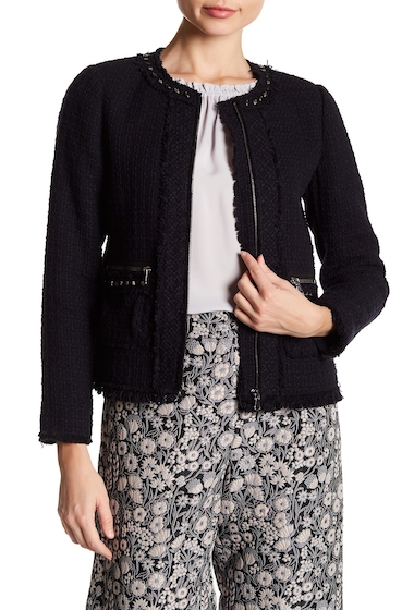 Imbracaminte Femei Rebecca Taylor Embellished Tweed Jacket NAVY-BLACK