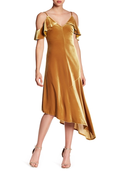 Imbracaminte Femei Donna Morgan Cold Shoulder Velvet Midi Dress OCHRYELLOW
