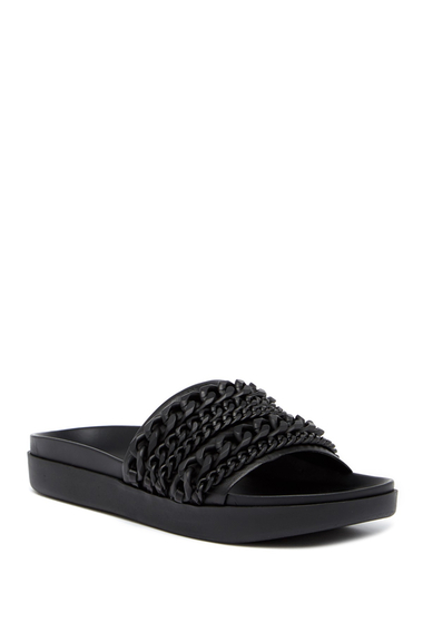 Incaltaminte Femei Kendall Kylie Shiloh Chain Leather Slide Sandal BLKLE