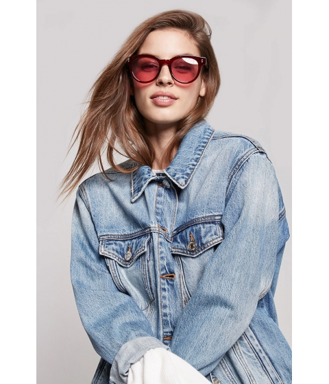 Ochelari Femei Forever21 Round Plastic Sunglasses BURGUNDYRED