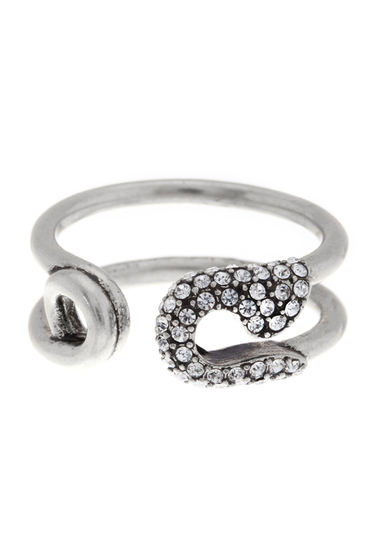 Bijuterii Femei Marc Jacobs Pave Safety Pin Ring CRYSTAL-ANTIQUE SILV