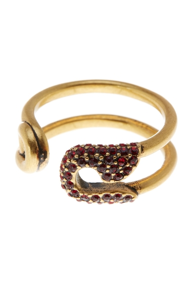 Bijuterii Femei Marc Jacobs Pave Safety Pin Ring RED-ANTIQUE GOLD