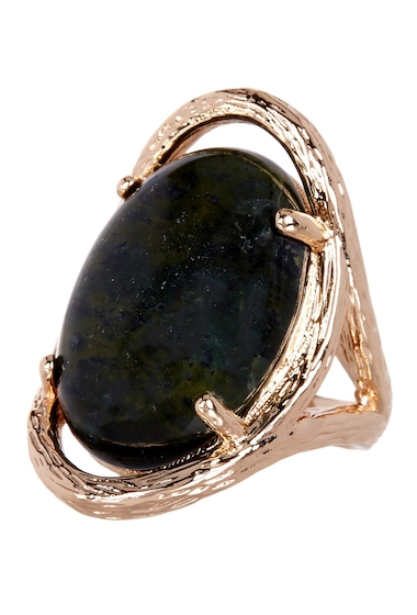 Bijuterii Femei METAL AND STONE Cabochon Oval Stone Textured Ring - Size 6 NO COLOR