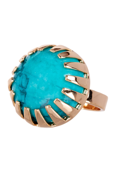 Bijuterii Femei METAL AND STONE Round Dark Green Turquoise Stone Ring - Size 8 NO COLOR