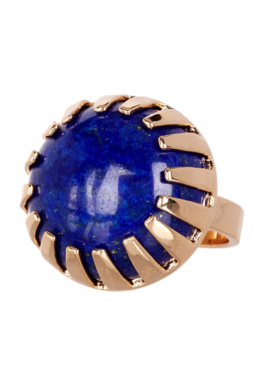 Bijuterii Femei METAL AND STONE Round Lapis Stone Ring - Size 6 NO COLOR