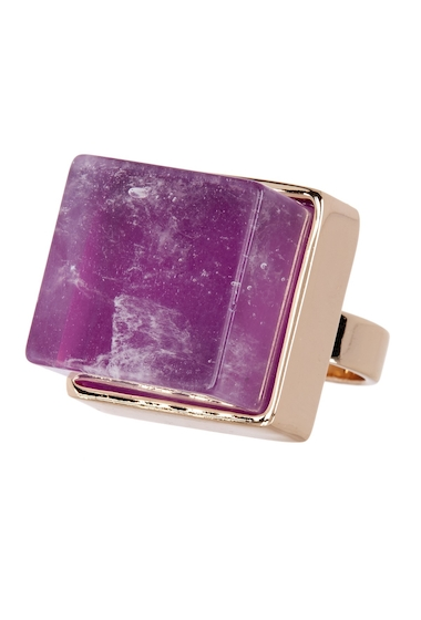 Bijuterii Femei METAL AND STONE Square Purple Crystal Detail Ring - Size 7 NO COLOR
