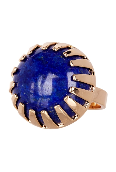 Bijuterii Femei METAL AND STONE Round Lapis Stone Ring - Size 8 NO COLOR