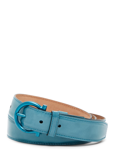 Accesorii Barbati Salvatore Ferragamo Patent Leather Belt SAXONY BLU