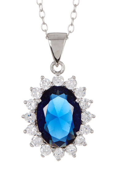 Bijuterii Femei Sterling Forever Sterling Silver Simulated Sapphire Blue CZ Necklace SILVER