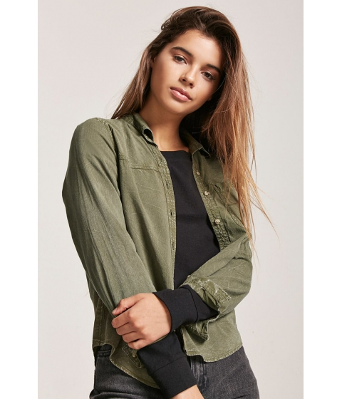 Imbracaminte Femei Forever21 Mineral Wash Shirt OLIVE