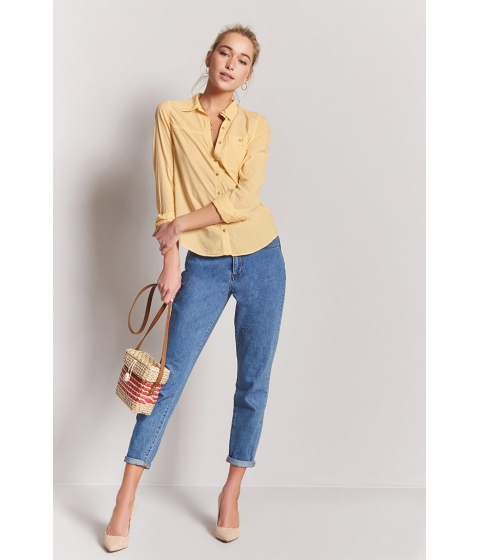 Imbracaminte Femei Forever21 Mineral Wash Shirt YELLOW
