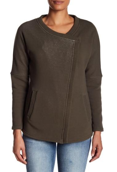 Imbracaminte Femei Blanc Noir Snap Front Fleece Sweater OLIVECREAM