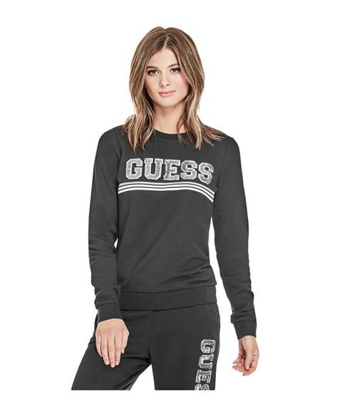 Imbracaminte Femei GUESS Ozzy Sequin Logo Sweatshirt jet black