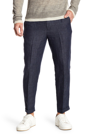 Imbracaminte Barbati Vince Relaxed Cropped Linen Trousers COASTAL BL