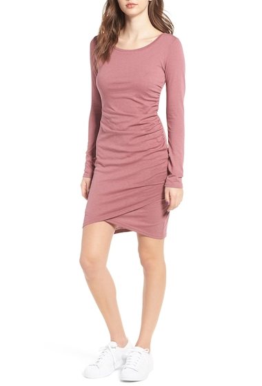 Imbracaminte Femei Leith Ruched Long Sleeve Dress BURGUNDY ROSE