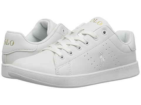 Incaltaminte Fete Polo Ralph Lauren Quincey Court (Big Kid) White Tumbled w White Pony - Gold
