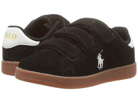 Incaltaminte Baieti Polo Ralph Lauren Quincey Court EZ (Toddler) Black Suede w Paper White Pony - Gum Sole