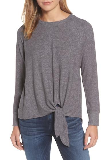 Imbracaminte Femei Gibson Tie Front Cozy Fleece Pullover CHARCOAL