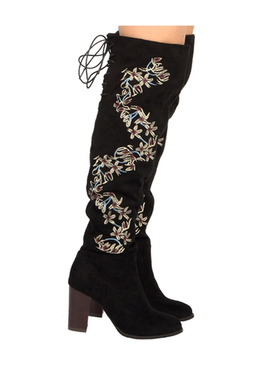 Incaltaminte Femei Qupid Zinc Embroidered Knee High Back Lace Up Boot BLACK