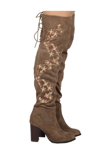 Incaltaminte Femei Qupid Zinc Embroidered Knee High Back Lace Up Boot TAUPE