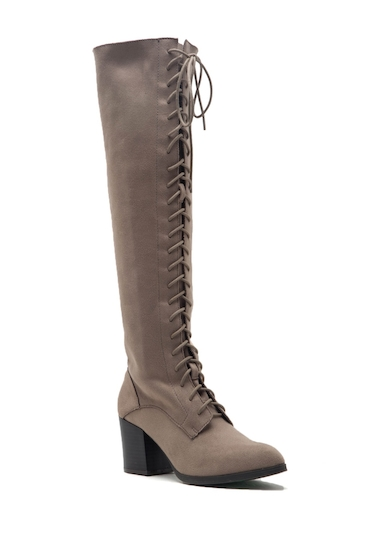 Incaltaminte Femei Qupid Wilson Lace-Up Over-the-Knee Boots TAUPE