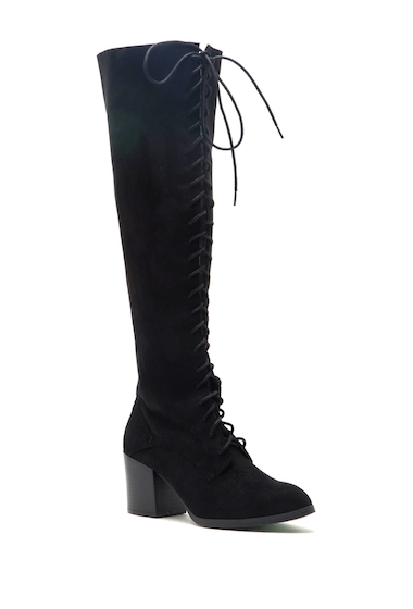 Incaltaminte Femei Qupid Wilson Lace-Up Over-the-Knee Boots BLACK