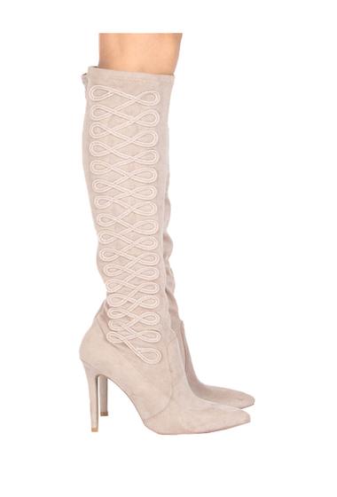 Incaltaminte Femei Qupid Milia Embroidered Knee-High Boot TAUPE