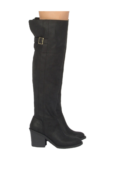 Incaltaminte Femei Qupid Marcel Buckle Over-the-Knee Boot BLACK