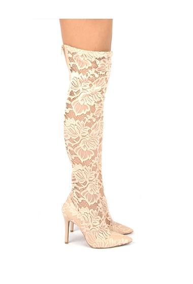 Incaltaminte Femei Qupid Milia Over-the-Knee Lace Boots NUDE