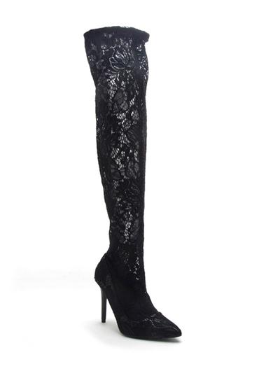 Incaltaminte Femei Qupid Milia Over-the-Knee Lace Boots BLACK