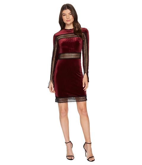 Imbracaminte Femei Romeo Juliet Couture Velvet w Sheer Lace Trim Dress Burgundy
