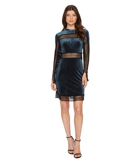 Imbracaminte Femei Romeo Juliet Couture Velvet w Sheer Lace Trim Dress Emerald
