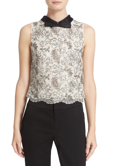 Imbracaminte Femei Alice Olivia Manie Bow Collar Embellished Crop Top OFF WHITE-BLACK