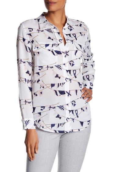 Imbracaminte Femei Equipment Slim Signature Silk Blouse BRIGHT WHITE MULTI