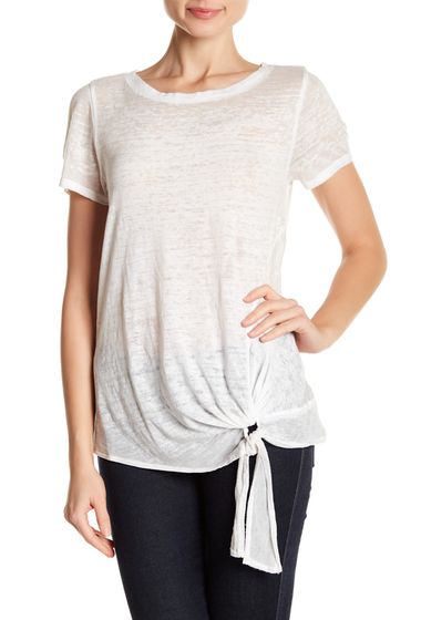 Imbracaminte Femei SUSINA Tie-Front Faded Tee Petite WHITE