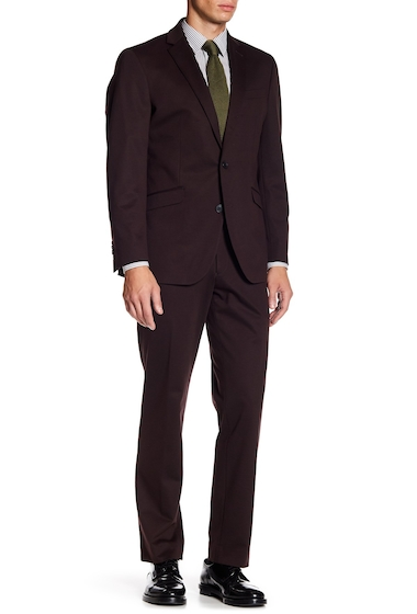 Imbracaminte Barbati Kenneth Cole Reaction Woven 2-Piece Slim Fit Suit BURGUNDY