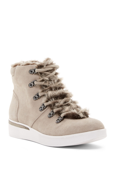 Incaltaminte Femei Kenneth Cole Reaction Hum For You Faux Fur Lined High-Top Sneaker TAUPE