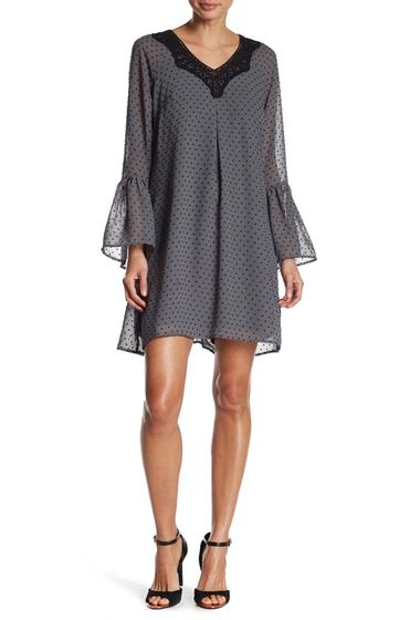 Imbracaminte Femei DR2 by Daniel Rainn Lace Trim Bell Sleeve Dot Dress C558G SLAT