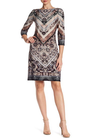 Imbracaminte Femei London Times 34 Sleeve Print Shift Dress BLK-TAUPE