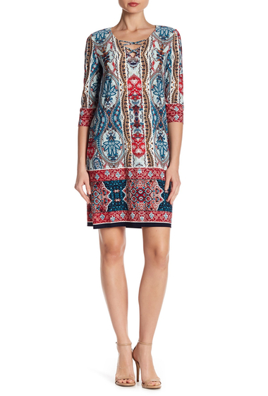 Imbracaminte Femei London Times 34 Sleeve Front Crisscross Print Dress TEAL