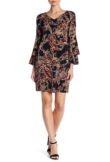 Imbracaminte Femei London Times 34 Length Flounce Bell Sleeve Print Shift Dress BLK-RED